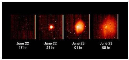 Фотографии выбросов из кометного ядра