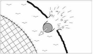 Удар снаряда по твердой оболочке кометного ядра и его погружение в расплавленные слои вещества