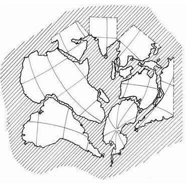 Совмещение современных береговых линий континентов и островов Индийского и Атлантического океанов