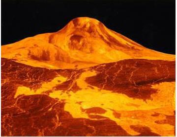 Трехмерный вид на щитовой вулкан Маат и прилегающий к нему район