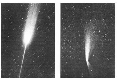 Антихвост, образованный вытеканием антивещества ядра кометы Аренда – Роланда
