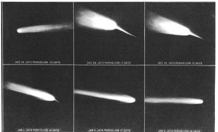 Рисунки визуальных наблюдений кометы Когоутека, сделанные астронавтами «Скайлэба»