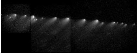 Комета Шумейкер-Леви 9, разделившаяся на двадцать комет и устремившаяся в направлении Юпитера